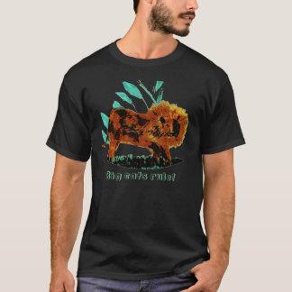 葉が多いライオンの野生動物の絵 Tシャツ