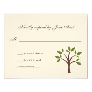 葉が多い木の結婚式の応答 カード