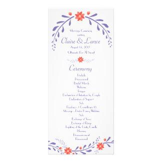 葉が多い花の結婚式プログラム ラックカード