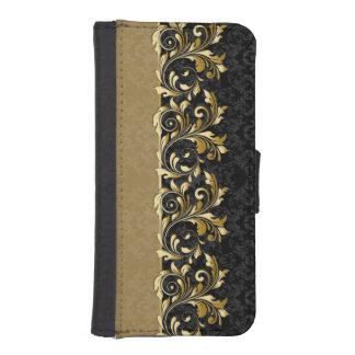 葉が多い金渦巻、黒いダマスク織 iPhoneSE/5/5sウォレットケース