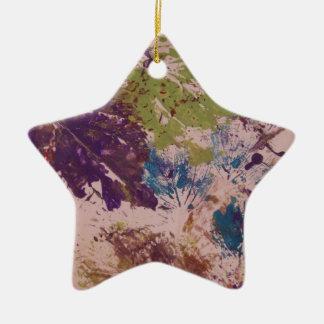 葉との印刷されたデザイン 陶器製星型オーナメント