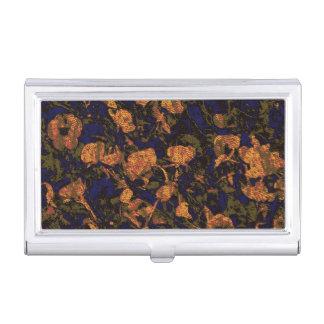 葉のカムフラージュパターンに対するオレンジ花 名刺入れ