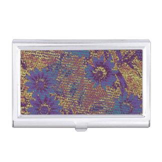 葉のカムフラージュパターンに対する青い花 名刺入れ
