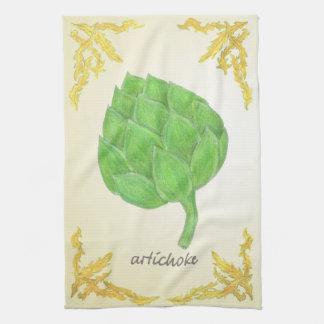 葉のクラシックなデザインのアーティチョーク キッチンタオル