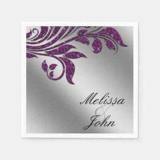 葉のグリッターの紫色の銀製の結婚記念日 スタンダードカクテルナプキン