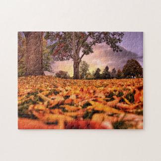 葉のジグソーパズルを通した眺め ジグソーパズル