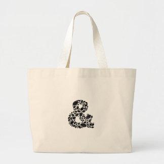 葉のモザイク黒の織り目加工のアンパーサンド ラージトートバッグ
