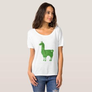 葉のラマの女性だらしないTシャツ Tシャツ