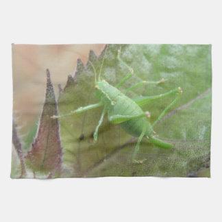 葉の台所タオルの緑のコオロギ キッチンタオル