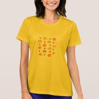 葉の女性の性能のTシャツが付いているカボチャ Tシャツ