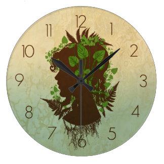 葉の女性 ラージ壁時計