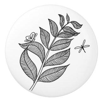 葉の小枝#1の陶磁器のノブ セラミックノブ