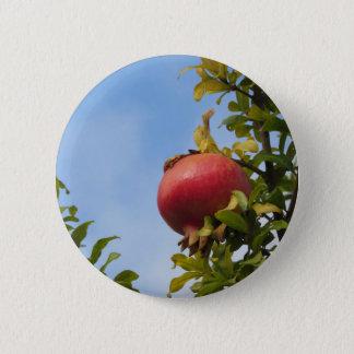 葉の木の独身ので赤いザクロのフルーツ 5.7CM 丸型バッジ