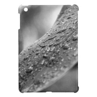葉の白黒雨滴 iPad MINIケース
