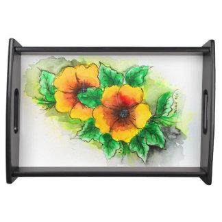 葉の皿-水彩画のスタイルが付いている黄色い花 トレー