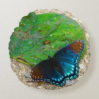 葉の蝶残り ラウンドクッション