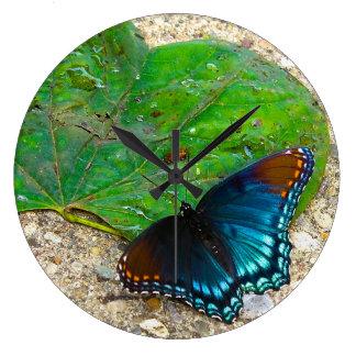葉の蝶残り ラージ壁時計