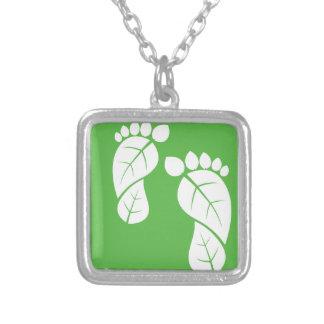 葉の足、生態学的な足跡 シルバープレートネックレス