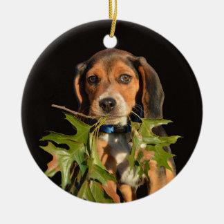 葉を持つよくはしゃぐなビーグル犬の子犬 セラミックオーナメント