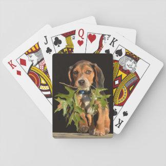 葉を持つよくはしゃぐなビーグル犬の子犬 トランプ