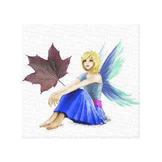 葉を持つ深紅色王カエデの木の妖精 キャンバスプリント