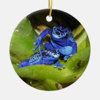 葉1の青い毒投げ矢のカエル セラミックオーナメント