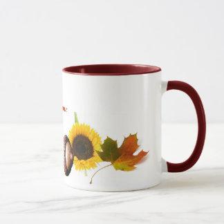 葉、ドングリおよびヒマワリ マグカップ