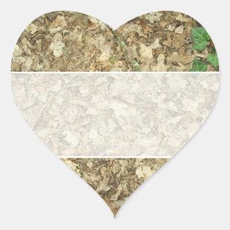 葉|森林|床|葉が多い|地面 ハート形シールステッカー