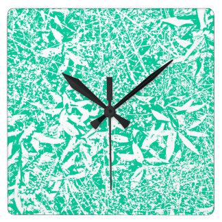 葉(緑および白) スクエア壁時計