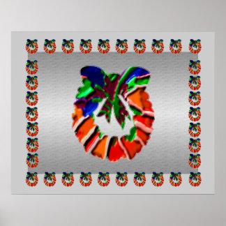 葉nの花の花びらのリース: 楽しむなnの共有の喜び ポスター