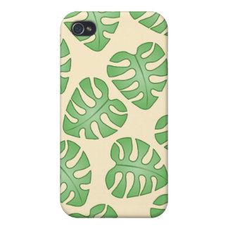 葉Pern、クリーム色色のMonsteraの葉 iPhone 4/4Sケース