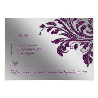 葉RSVPの結婚式の応答カード紫色の輝き カード
