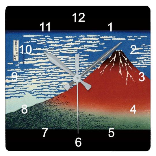 葛飾北斎 , Hokusai スクエア壁時計
