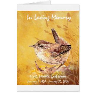 葬儀のプログラムカスタムな水彩画のミソサザイの鳥 カード
