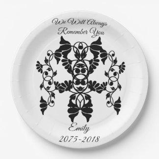 葬式のための白黒装飾の花 ペーパープレート