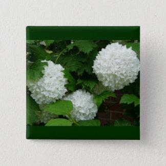葱類の白い円形の花 5.1CM 正方形バッジ