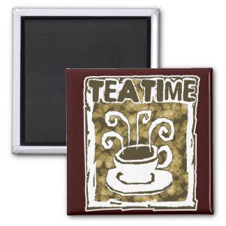 蒸気が付いている茶時間コップ マグネット