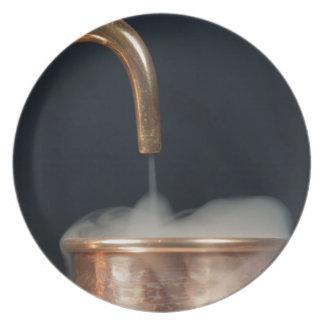 蒸気が付いている銅の管 プレート