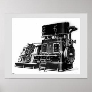 蒸気によって運転される発電機 ポスター