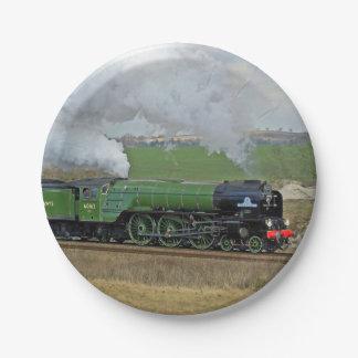 蒸気の列車のプレート ペーパープレート