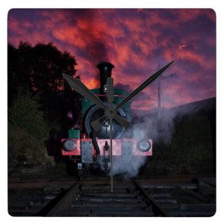 蒸気の列車の柱時計 スクエア壁時計