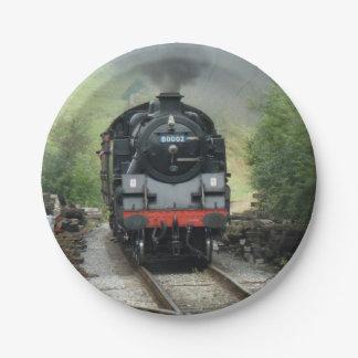 蒸気の列車の紙皿 ペーパープレート