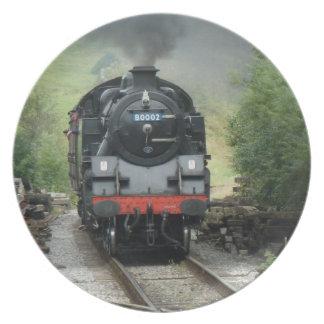 蒸気の列車の装飾的なプレート プレート