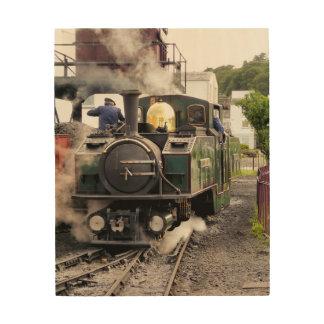 蒸気の列車 ウッドウォールアート