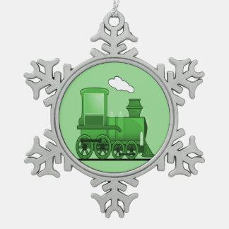 蒸気の列車 スノーフレークピューターオーナメント
