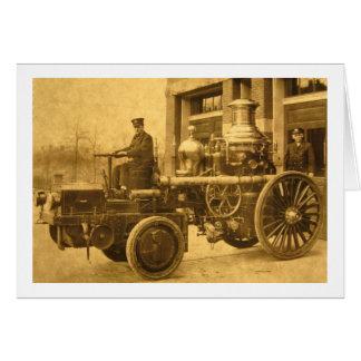 蒸気の消防車のPumperのトラック カード