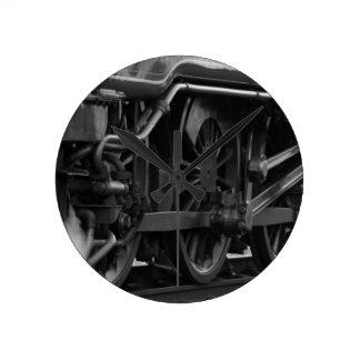 蒸気機関のロコモーティブの列車のギフト ラウンド壁時計