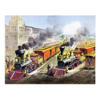 蒸気機関の列車 ポストカード