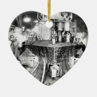 蒸気機関車の列車の鉄道 セラミックオーナメント