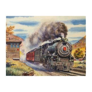 蒸気機関車 ウッドウォールアート